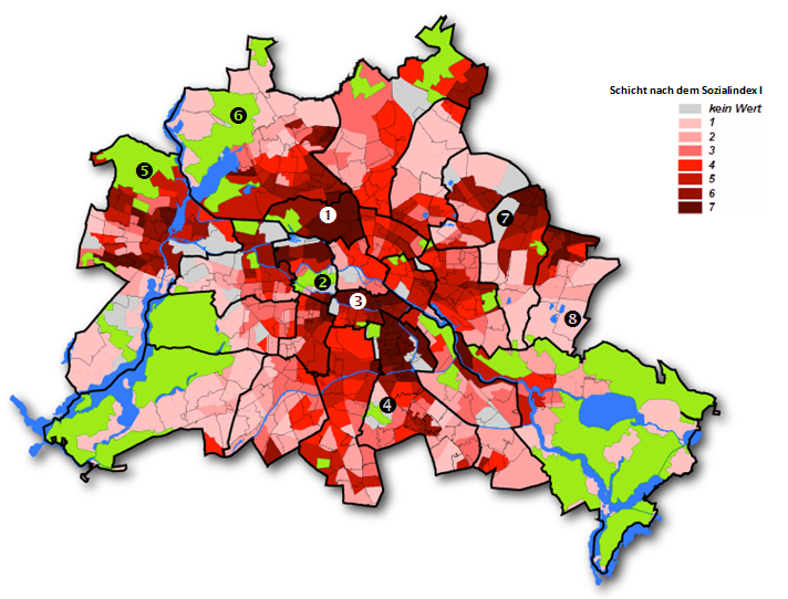 Abbildung 5  Sozialindex I Schichten der Planungsräume mit den Schuleinzugsgebietsgrenzen