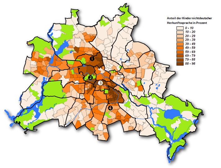 Abbildung 8  Anteile Kinder nichtdeutscher Herkunftssprache auf die Grundschuleinzugsgebiete  projiziert