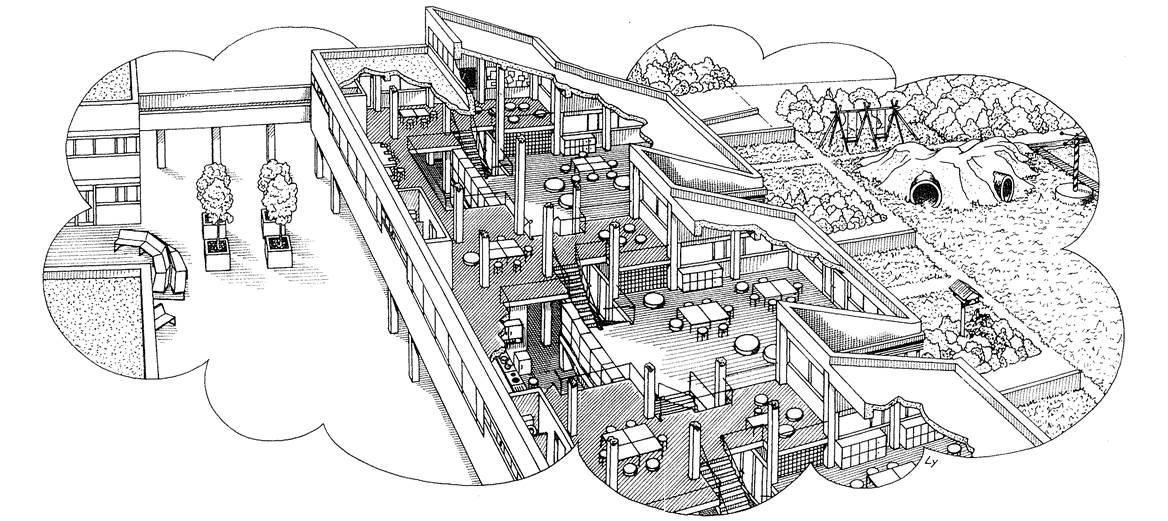 Die Abbildung zeigt eine räumliche Schnittzeichnung des Haus 1 der Laborschule Bielefeld. Sichtbar wird auf dieser Zeichnung insbesondere die Großraumstruktur des Gebäudes mit seinen verschiedenen, durch Treppen miteinander verbundenen Halbgeschossen sowie die Anbindung des Gebäudes an die umliegenden Außenbereiche.